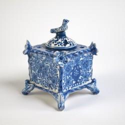 Tintero Cuadrado Barroco Azul
